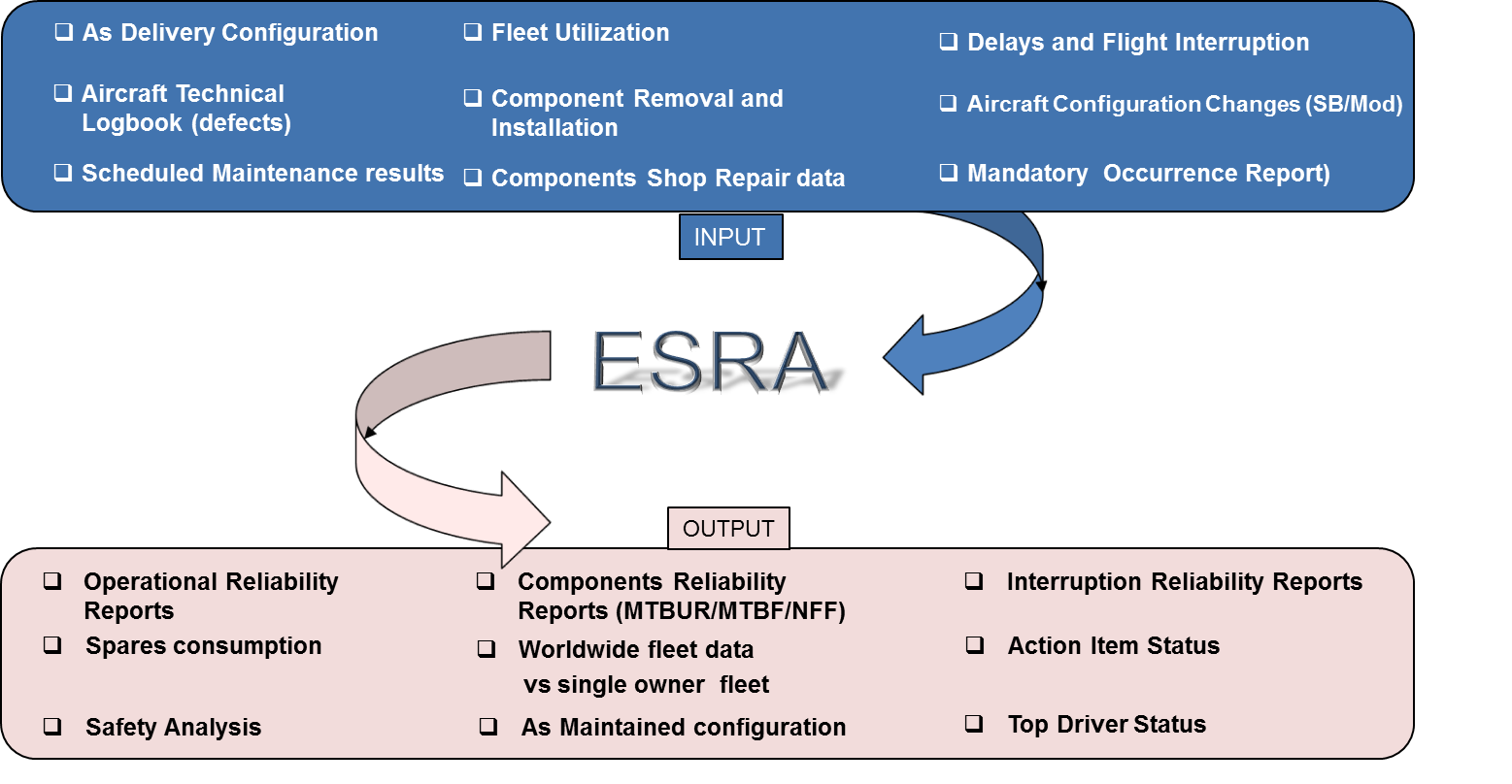 Expert System for Reliability in Aeronautics Inputs and Outputs